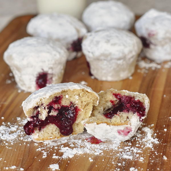 Raspberry Filled Powdered Donut Muffins